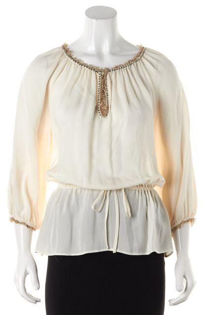ALICE + OLIVIA Ivory Embellished Silk Blouse