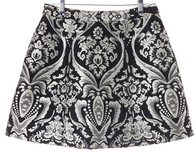 ALICE + OLIVIA Black White Floral Brocade Mini Skirt