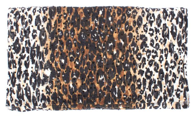 ALICE + OLIVIA Brown Black Cheetah Printed Sequined Wool Infinity Scarf