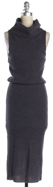 ALICE + OLIVIA Gray Wool Sleeveless Turtleneck Dress