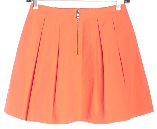 ALICE + OLIVIA Orange Pleated A-Line Skirt