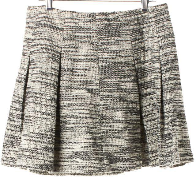 ALICE + OLIVIA Black White Tweed Pleated A-Line Skirt
