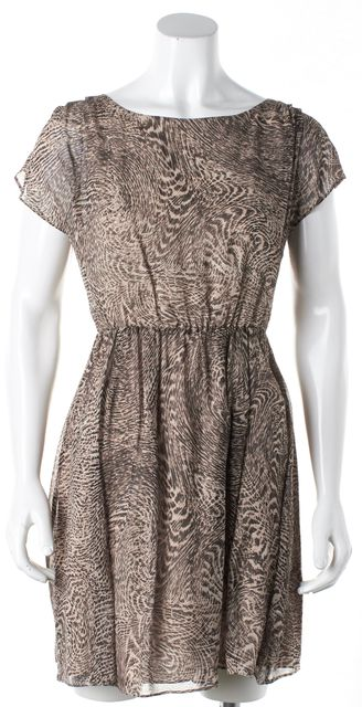 ALICE + OLIVIA Brown Abstract Open Back Silk Dress