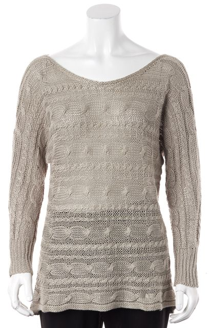 ALICE + OLIVIA Beige Open Cable Knit Boat Neck Sweater