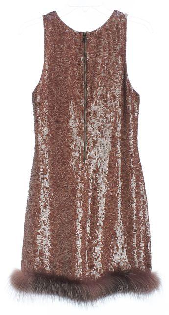 ALICE + OLIVIA Brown Sequin Fox Fur Trim Silk Blouson Dress