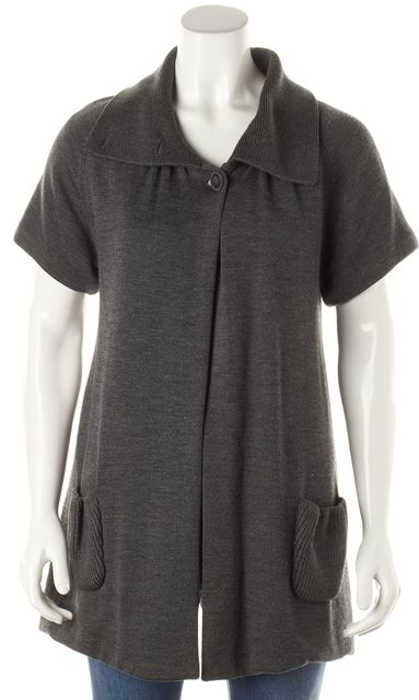 ALICE + OLIVIA Gray Wool One Button Open Short Sleeve Cardigan