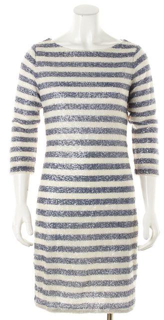 ALICE + OLIVIA Multi-color Striped Sequin Shift Dress