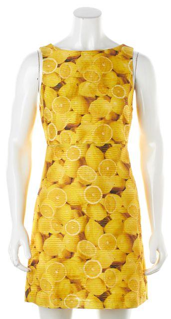 ALICE + OLIVIA Yellow Lemon Fit & Flare Dress