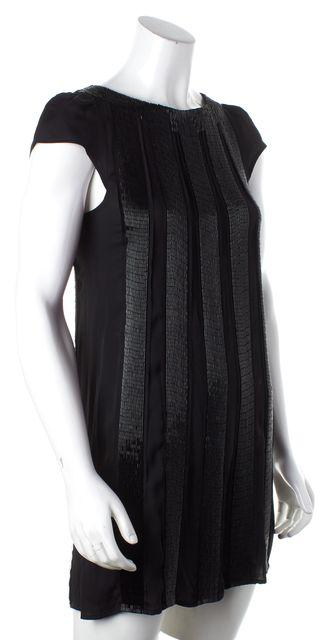 ALICE + OLIVIA Black Beaded Silk Shift Dress
