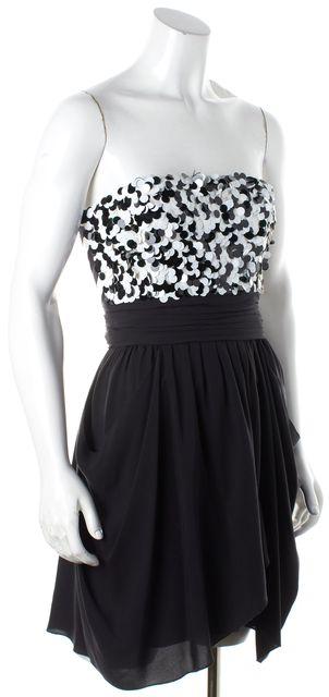 ALICE + OLIVIA Black & White Silk Sequin Sleeveless Empire Waist Dress