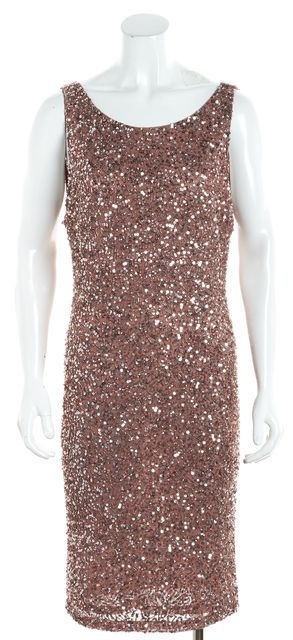 ALICE + OLIVIA Dusty Pink Lace Sequin Scoop Back Sheath Dress