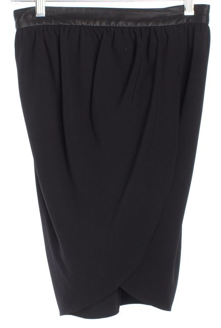 ALICE + OLIVIA Black Faux Wrap Leather Trimmed Pencil Skirt