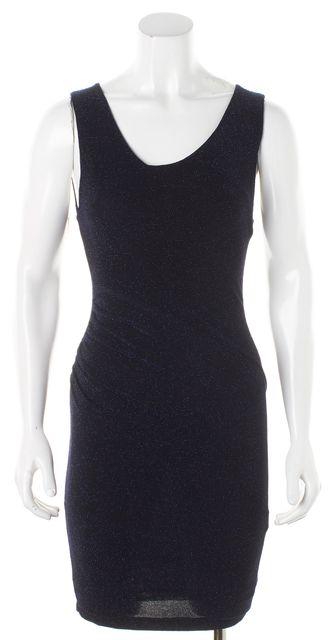 ALICE + OLIVIA Black Blue Metallic Sheer Back Bodycon Dress