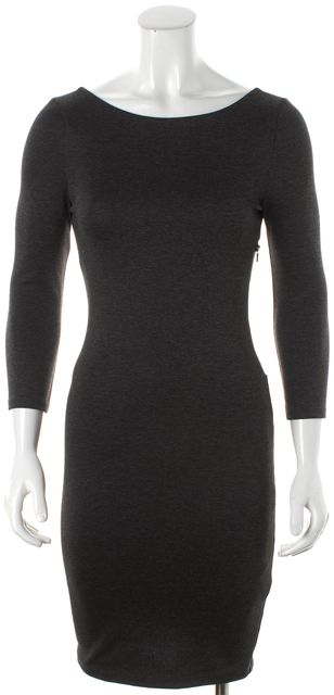 ALICE + OLIVIA Heather Gray Mesh Detailed Long Sleeved Sheath Dress