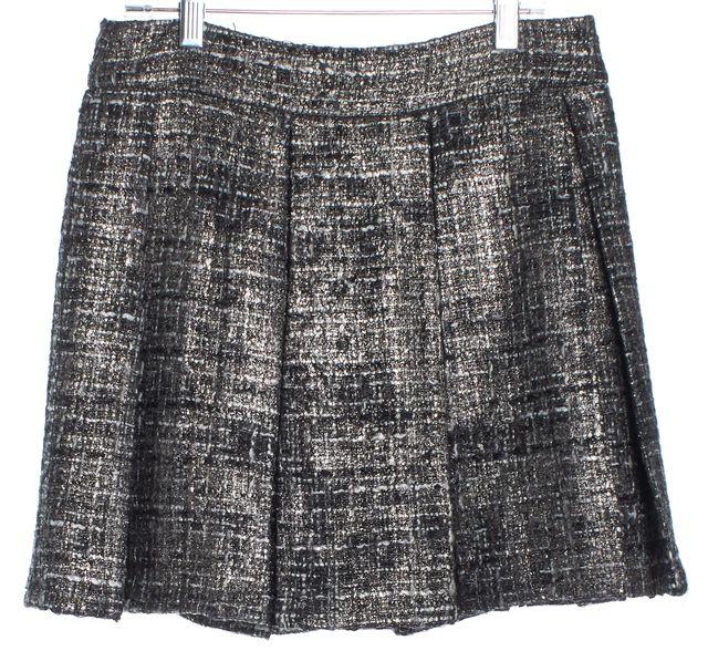 ALICE + OLIVIA Silver Tweed Pleated Skirt