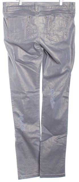 ALICE + OLIVIA Purple Glitter Skinny Jeans