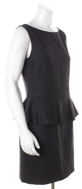 ALICE + OLIVIA Black Wool Peplum Dress