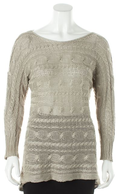 ALICE + OLIVIA Gray Long Sleeve Linen Asymmetrical Hem Boat Neck Sweater