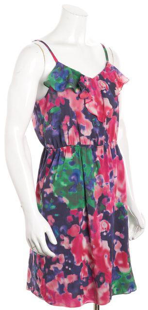 ALICE + OLIVIA Pink Multicolor Abstract Silk Blouson Dress