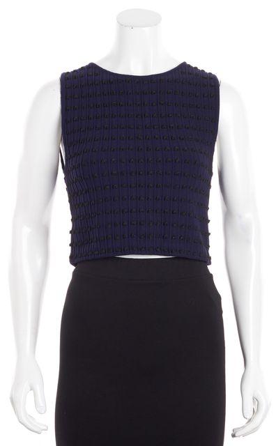 ALICE + OLIVIA Navy Black Sleeveless Knit Top