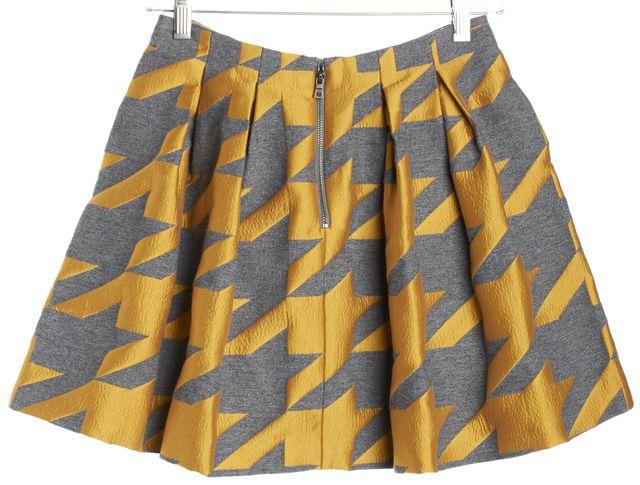 ALICE + OLIVIA Charcoal Gray Mustard Yellow Houndstooth Mini Full Skirt