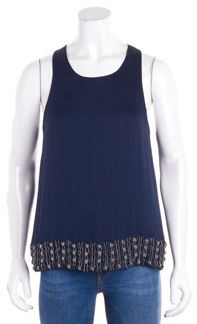 ALICE + OLIVIA Navy Blue Bow & Chain Embellished Silk Tank Top