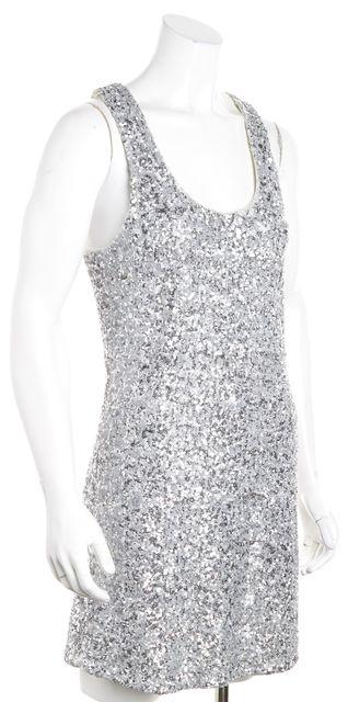 ALICE + OLIVIA Gray Sleeveless Silver Sequin Swoop Neck Bodycon Dress