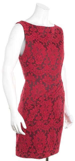 ALICE + OLIVIA Red Embroidered Sheath Dress