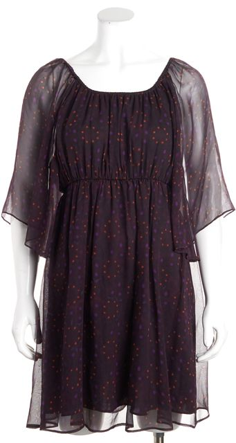 ALICE + OLIVIA Purple Red Polka Dot Batwing Shift Dress