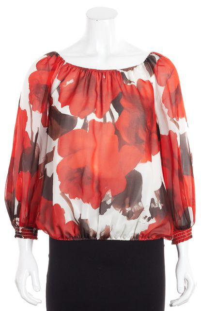 ALICE + OLIVIA Red White Floral Silk Blouse