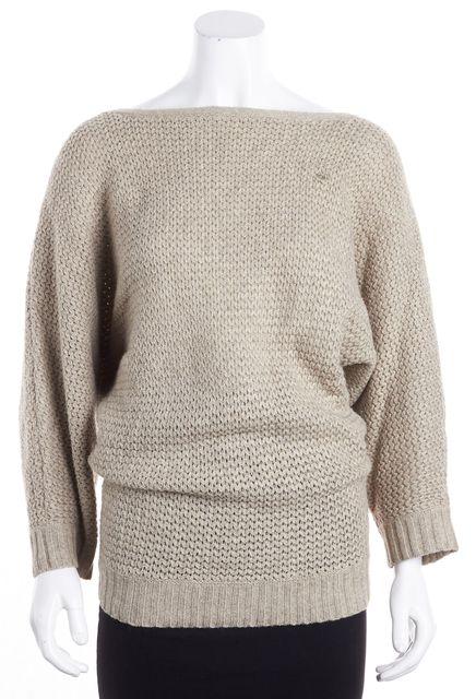ALICE + OLIVIA Beige Open Knit Crewneck Sweater
