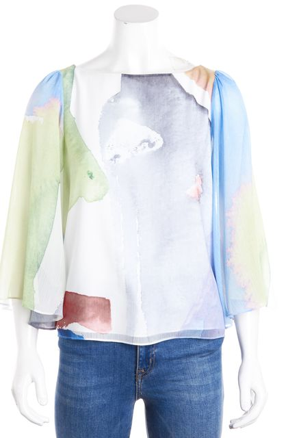 ALICE + OLIVIA White Blue Green Orange Gray Abstract Ruched Blouse