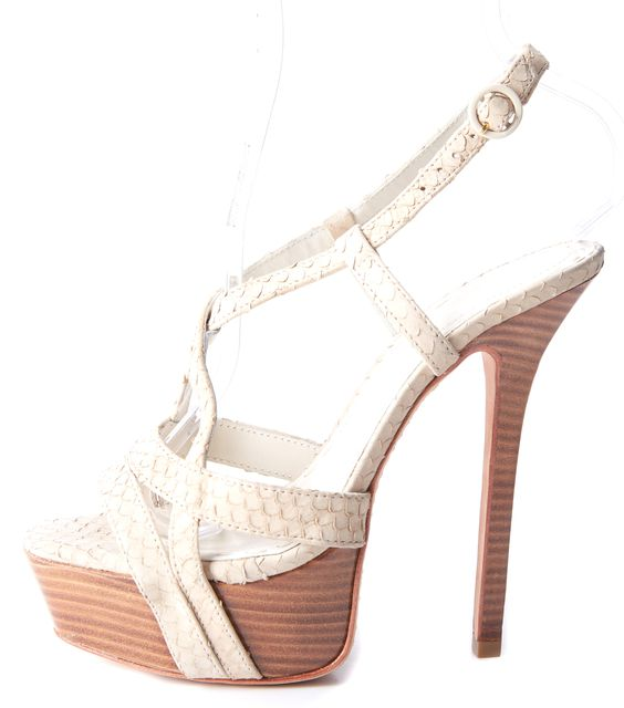 ALICE + OLIVIA White Leather Stilettos Heels