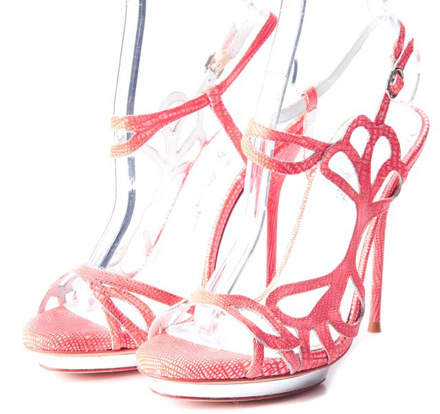 ALICE + OLIVIA Coral Pink Leather Slingback Open Toe Stilettos Heels