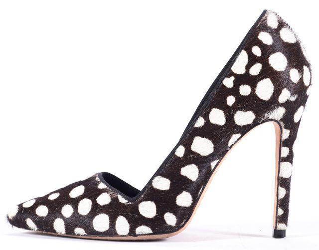 ALICE + OLIVIA Brown White Polka Dot Ponyhair Pump Heels Size Us 6 It 36