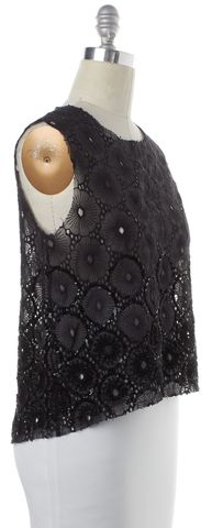 ALLSAINTS ALL SAINTS Black Sheer Floral Sequin Lilia Top