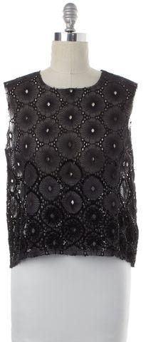 ALL SAINTS Black Sheer Floral Sequin Lilia Top Size 10 UK 14