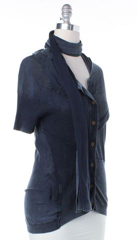 ALLSAINTS ALL SAINTS Faded Blue Short Sleeve Linen Cardigan Size 8 With Scarf