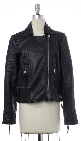 ALL SAINTS Black Leather Motorcycle Jacket Size 8 UK 12