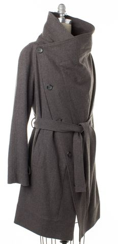 ALL SAINTS Gray Double Breasted Tie Waist Basic Coat Size 6 UK 10
