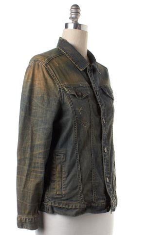 ALLSAINTS ALL SAINTS Blue Distressed Denim Carpenter Jacket Jean Jacket