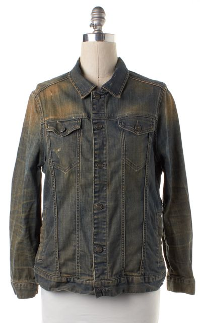 ALLSAINTS ALL SAINTS Blue Distressed Denim Carpenter Jacket Jean Jacket