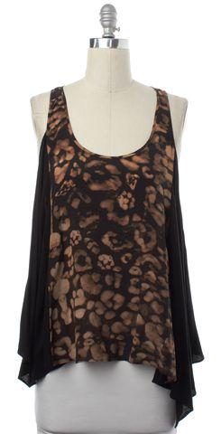 ALLSAINTS ALL SAINTS Brown Black Silk Camouflage Vest Top