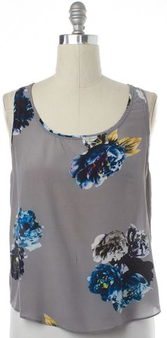 ALLSAINTS ALL SAINTS Gray Floral Print Silk Sleeveless Cami Top