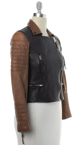 ALL SAINTS Brown Black Leather Amity Biker Motorcycle Jacket Size 4 UK 8