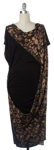 ALLSAINTS ALL SAINTS Black Beige Silk Camouflage Dress