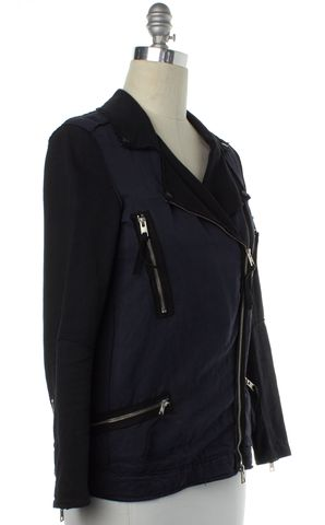 ALL SAINTS Navy Blue Black Linen Moto Style Jacket Size 4
