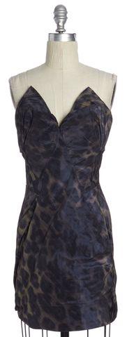 ALLSAINTS ALL SAINTS Blue Beige Leopard Print Corset Dress