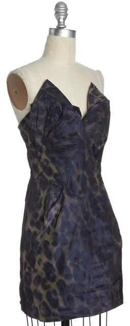ALLSAINTS ALL SAINTS Blue Beige Leopard Print Corset Dress