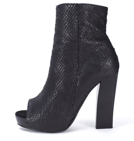 ALLSAINTS ALL SAINTS Black Snake Embossed Leather Open Toe Heeled Ankle Boots